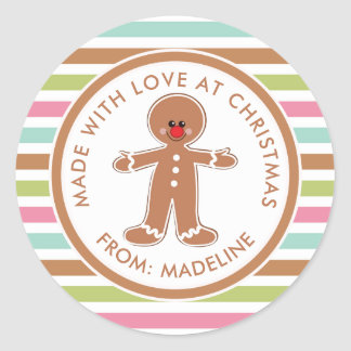 Merry Christmas | Gingerbread Man Gift Tag Round Sticker