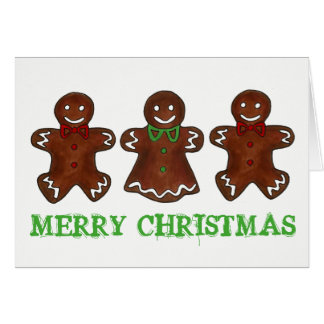 MERRY CHRISTMAS Gingerbread Man Lady Cookie Xmas Card
