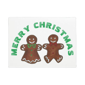 Merry Christmas Gingerbread Man Lady Xmas Cookie Doormat