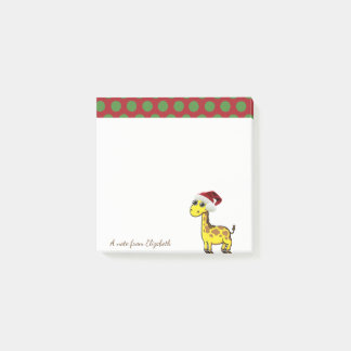 Merry Christmas,Giraffe Santa Hat -Personalized Post-it Notes