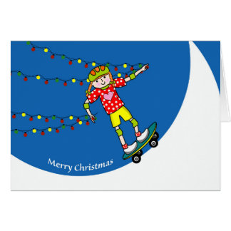 Merry Christmas, Girl Skateboarder with Lights Card
