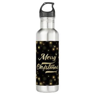 Merry Christmas Glitter Bokeh Gold Black 710 Ml Water Bottle