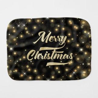 Merry Christmas Glitter Bokeh Gold Black Burp Cloth