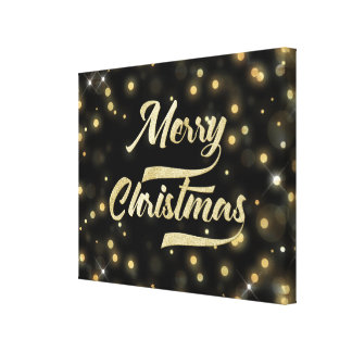 Merry Christmas Glitter Bokeh Gold Black Canvas Print