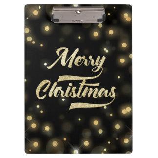 Merry Christmas Glitter Bokeh Gold Black Clipboard