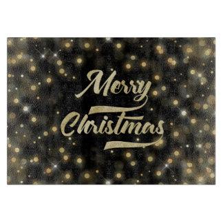 Merry Christmas Glitter Bokeh Gold Black Cutting Board