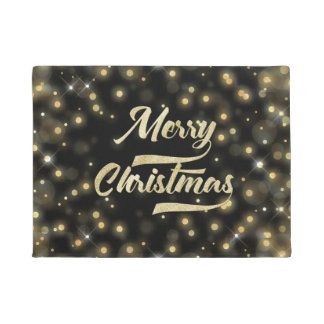 Merry Christmas Glitter Bokeh Gold Black Doormat