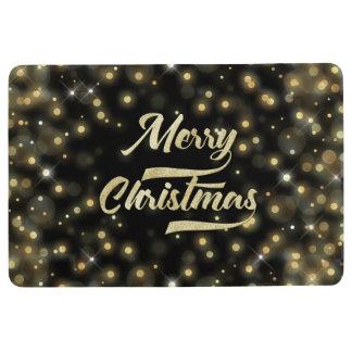 Merry Christmas Glitter Bokeh Gold Black Floor Mat