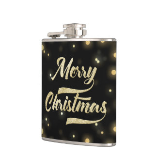 Merry Christmas Glitter Bokeh Gold Black Hip Flask