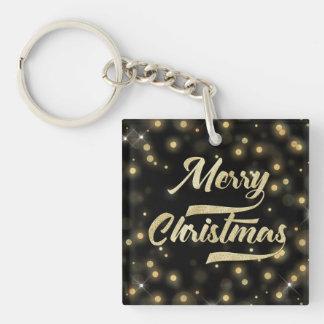 Merry Christmas Glitter Bokeh Gold Black Keychain