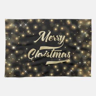 Merry Christmas Glitter Bokeh Gold Black Kitchen Towel
