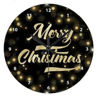 Merry Christmas Glitter Bokeh Gold Black Large Clock
