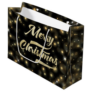 Merry Christmas Glitter Bokeh Gold Black Large Gift Bag