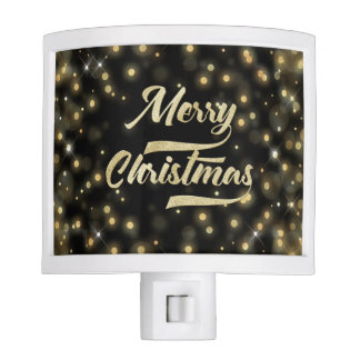 Merry Christmas Glitter Bokeh Gold Black Nite Lites