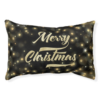 Merry Christmas Glitter Bokeh Gold Black Pet Bed