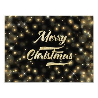 Merry Christmas Glitter Bokeh Gold Black Photo Print