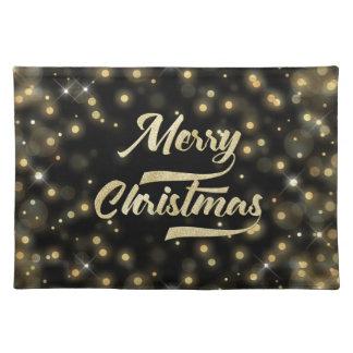 Merry Christmas Glitter Bokeh Gold Black Placemat