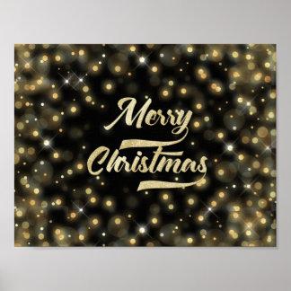 Merry Christmas Glitter Bokeh Gold Black Poster