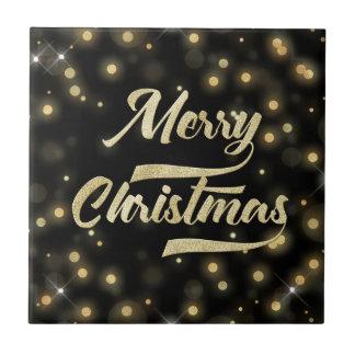 Merry Christmas Glitter Bokeh Gold Black Tile