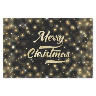 Merry Christmas Glitter Bokeh Gold Black Tissue Paper