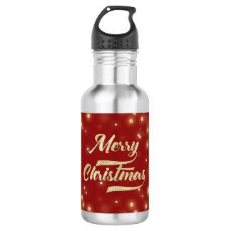Merry Christmas Glitter Bokeh Gold Red 532 Ml Water Bottle