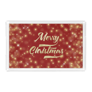 Merry Christmas Glitter Bokeh Gold Red Acrylic Tray