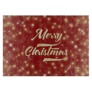 Merry Christmas Glitter Bokeh Gold Red Boards