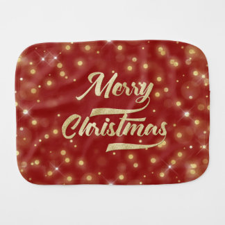 Merry Christmas Glitter Bokeh Gold Red Burp Cloth