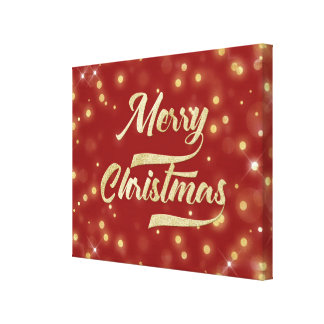Merry Christmas Glitter Bokeh Gold Red Canvas Print
