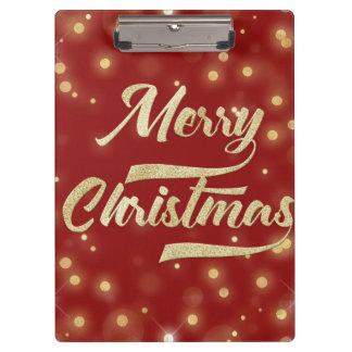 Merry Christmas Glitter Bokeh Gold Red Clipboard