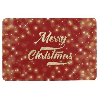 Merry Christmas Glitter Bokeh Gold Red Floor Mat