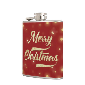 Merry Christmas Glitter Bokeh Gold Red Hip Flask