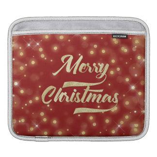 Merry Christmas Glitter Bokeh Gold Red iPad Sleeve
