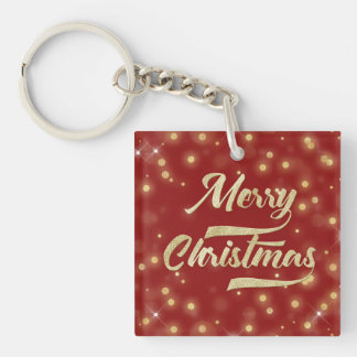 Merry Christmas Glitter Bokeh Gold Red Keychain