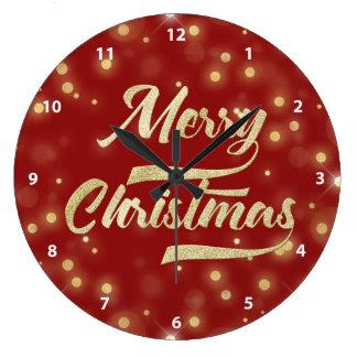Merry Christmas Glitter Bokeh Gold Red Large Clock