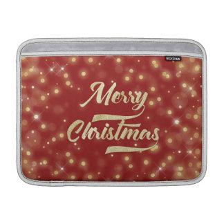 Merry Christmas Glitter Bokeh Gold Red MacBook Air Sleeve