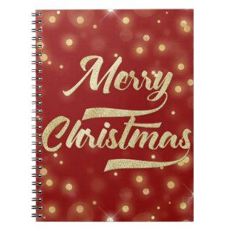 Merry Christmas Glitter Bokeh Gold Red Notebooks