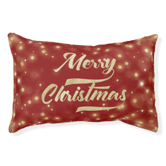 Merry Christmas Glitter Bokeh Gold Red Pet Bed
