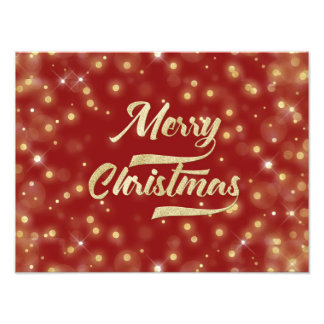 Merry Christmas Glitter Bokeh Gold Red Photo Print