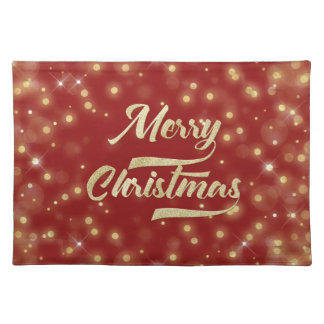 Merry Christmas Glitter Bokeh Gold Red Placemat