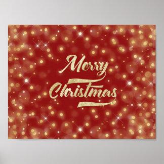 Merry Christmas Glitter Bokeh Gold Red Poster