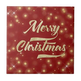 Merry Christmas Glitter Bokeh Gold Red Tile