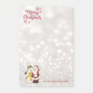 Merry Christmas,Glittery Bokeh,Santa Claus,Snowman Post-it Notes