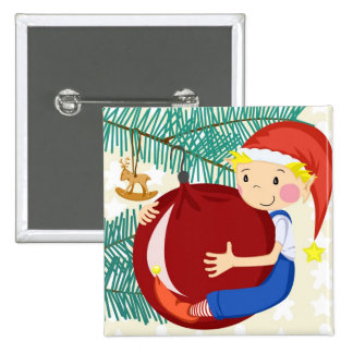 Merry Christmas Gnome 2 Inch Square Button