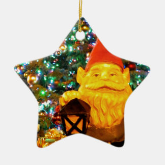Merry Christmas Gnome Ceramic Star Ornament