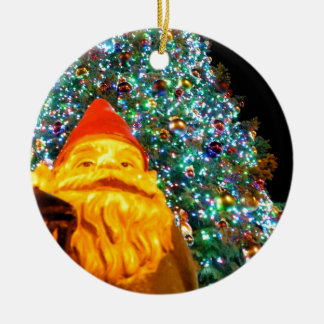 Merry Christmas Gnome Round Ceramic Ornament
