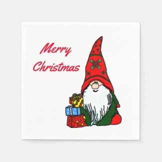 Merry Christmas Gnome with Presents Paper Napkins