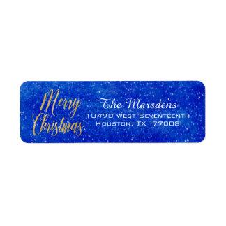 Merry Christmas Gold and Blue Custom Return Return Address Label