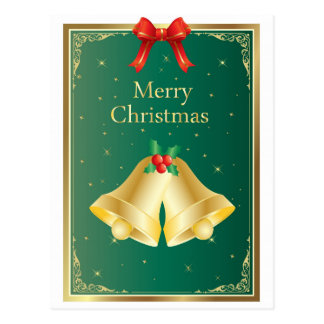 Merry Christmas Gold Bells Art Postcard