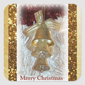 Merry Christmas Gold Bells Sticker